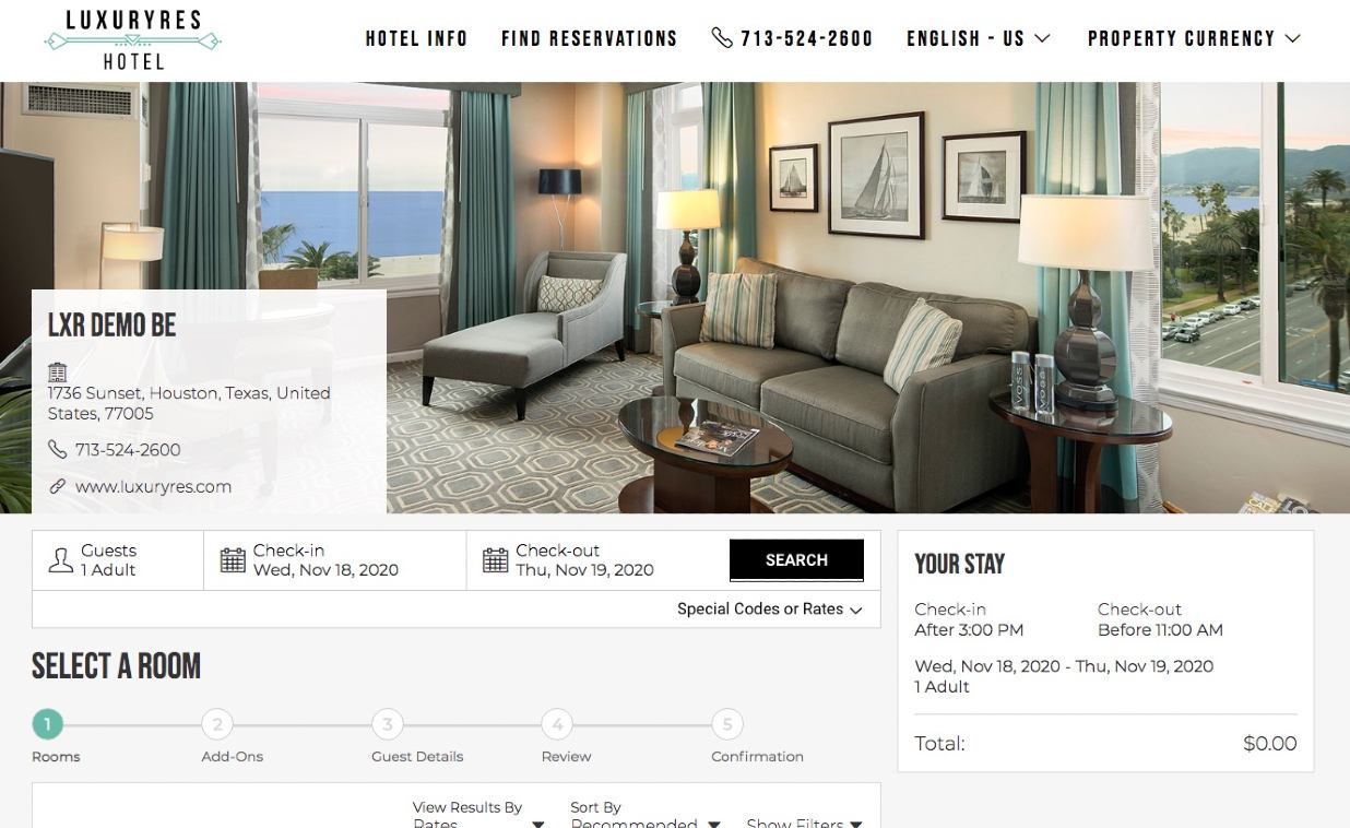 LuxuryRes Online Booking Engine Demo